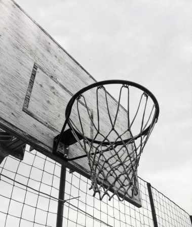 basketball hoop black and white board clouds